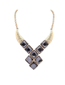 Fashion Gray Square Diamond Decorated X Shape Design Alloy Bib Necklaces