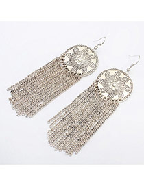 Vintage Silver Color Tassel Decorated Round Shape Design Alloy Korean Earrings