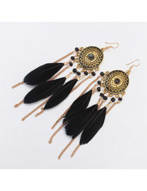 Fashion Black Tassel Pendant Decorated Round Shape Design