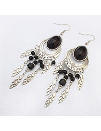 Fashion Black Beads Decorated Oval Shape Design Resin Korean Earrings