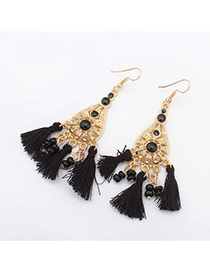 Vintage Black Tassel Pendant Decorated Hollow Out Waterdrop Shape Design Alloy Korean Earrings