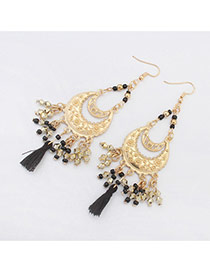 Vintage Black Tassel Pendant Decorated Crescent Moon Shape Design Alloy Korean Earrings