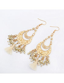 Vintage White Tassel Pendant Decorated Crescent Moon Shape Design Alloy Korean Earrings