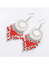 Vintage Red Tassel Pendant Decorated Round Shape Design Alloy Korean Earrings
