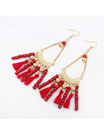 Vintage Red Tassel Pendant Decorated Chain Design Alloy Korean Earrings
