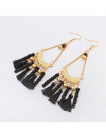 Vintage Black Tassel Pendant Decorated Chain Design Alloy Korean Earrings