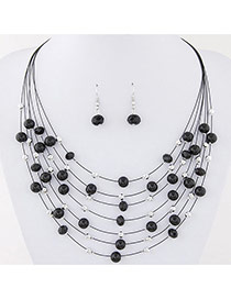 Bohemia Black Pearl&crystal Decorated Multi-layer Necklace Set
