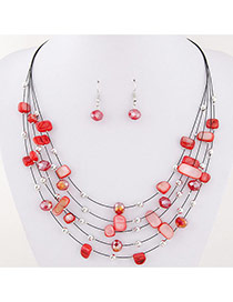 Bohemia Red Sell& Diamond Decorated Simple Necklace Set
