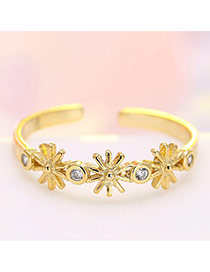 Fashion Gold Color Flower&diamond Decorated Opening Ring