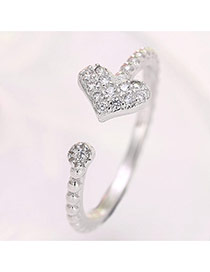 Fashion Silver Color Heart Shape Decorated Opening Ring