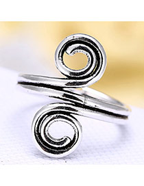Vintage Silver Spiral Shape Decorated Opening Ring