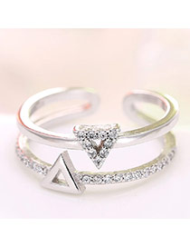 Personality Silver Triangle Decorated Double-layer Ring