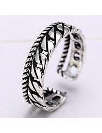 Retro Silver Color Chain Shape Decorated Opening Ring