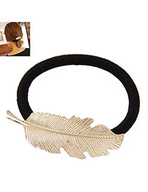 Delicate Gold Color Metal Leaf Decorated Simple Hair Band