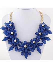 Exaggerate Blue Flower Shape Decorated Short Chain Necklace