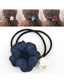 Fashion Sapphire Blue Pearl&flower Decorated Double Layer Hair Band Hair Hoop
