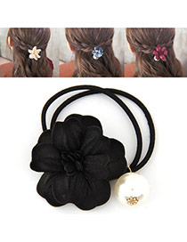 Fashion Black Pearl&flower Decorated Double Layer Hair Band Hair Hoop