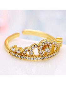 Personalized Gold Color Crown&diamond Decorated Simple Opening Ring