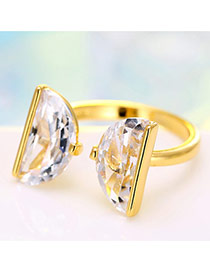 Personalized Gold Color Semicircle Shape Diamond Decorated Simple Opening Ring