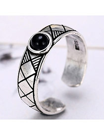 Retro Silver Color Ruond Genstone Decorated Grid Pattern Opening Ring