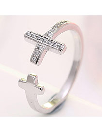 Temperament Silver Color Two Cross Shape Decorated Opening Ring