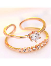 Elegant Rose Gold Diamond Decorated Double Layer Opening Ring