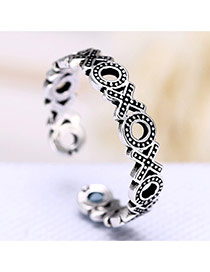 Retro Silver Color X&o Letter Decorated Simple  Opening Ring