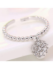 Elegant Silver Color Flower Decorated Simple Opening Ring