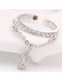 Elegant Silver Color Key Pendant And Diamond  Decorated Simple Opening Ring