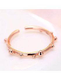 Elegant Rose Gold Round Shape Decorated Opening Ring