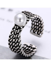 Vintage Anti-silver Pearl Decorated Multilayer Chain Shape Opening Ring