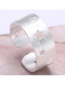 Vintage Silver Color Hollow Out Star Shape Decorated Simple Opening Ring