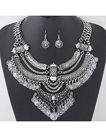 Vintage Anti-silver Coins Shape Tassel Pendant Decorated Geometric Shape Jewelry Sets
