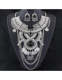 Exaggerated Silver Color Geometric Shape Decorated Collar Jewelry Sets