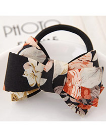Sweet Black Flower Pattern Bowknot Decorated Simple Hair Band