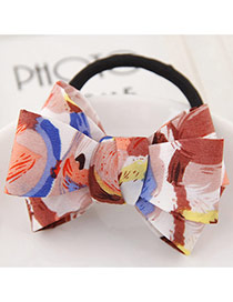 Sweet Dark Coffee Flower Pattern Bowknot Decorated Simple Hair Band