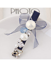 Sweet Sapphire Blue Pearl&bowknowt Decorated Simple Hair Clip