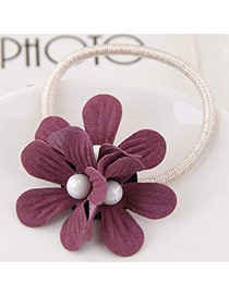 Sweet Dark Purple Three Flower&pearl Decorated Simple Hair Band