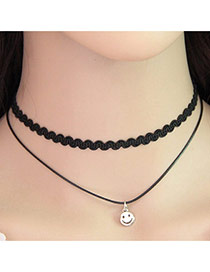 Temperament Black Smiling Face Pendant Decorated Double Layer Necklace