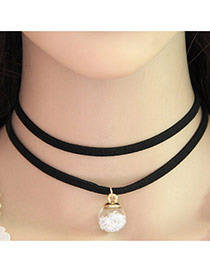 Temperament White Ball Shape Pendant Decorated Double Layer Neckalce