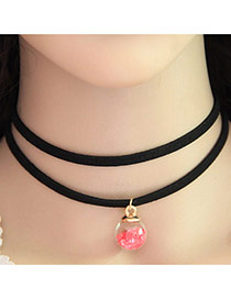 Temperament Pink Ball Shape Pendant Decorated Double Layer Neckalce