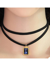 Temperament Dark Blue Square Gemstone Pendant Decorated Double Layer Necklace