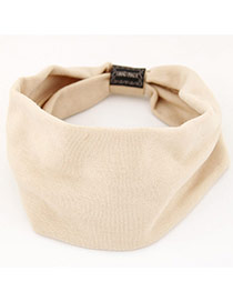 Fashion Beige Pure Color Design Wide-brimmed Casual Hair Band