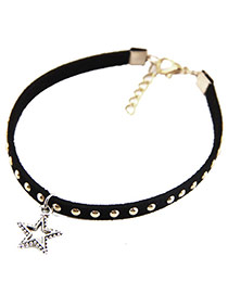 Personality Black Star Shape Pendant Decorated Rivat Short Chain Necklace