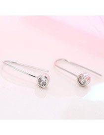 Personality Silver Color Diamond Decorated Simple Bend Earrings