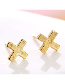 Lovely Gold Color Cross Decorated Pure Color Earrings