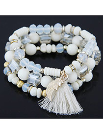 Bohemia White Sea Wave Shape&tassel Pendant Decorated Multilayer Bracelet