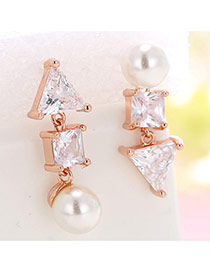 Personality Rose Gold Geometric Shape Diamond Decorated Asymmetric Earrings