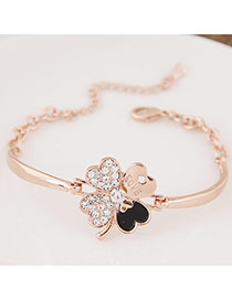 Sweet Rose Gold Clover Shape Decorated Simple Bracelet