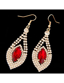 Sweet Red Oval Diamond Decorated Geometric Shape Pendant Earring